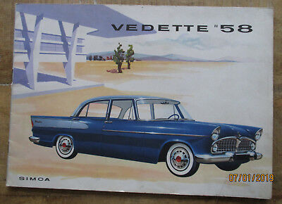 Brochure  publicitaire   -  SIMCA  - VEDETTE  58  - Beaulieu / Chambord / Marly