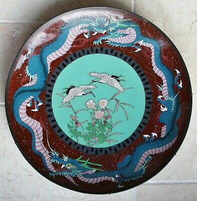 Large Japanese cloisonne charger with cranes & dragons, 45cm, c.1900 No.1
