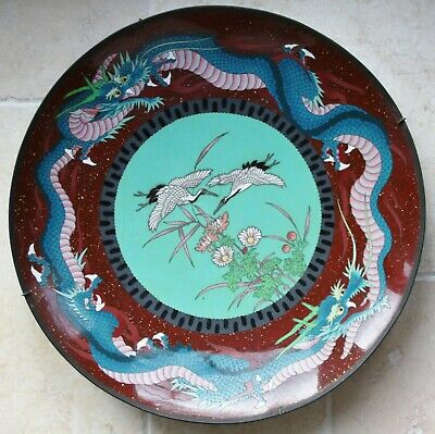 Large Japanese cloisonne charger with cranes & dragons, 45cm, c.1900, No.2