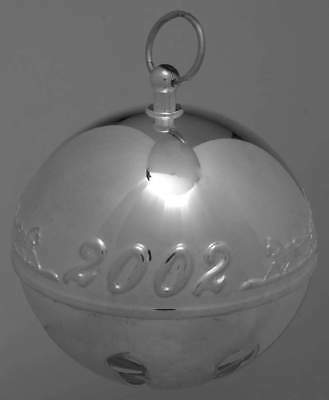 2002 Wallace Annual Silver Plate Sleigh Bell Ball Christmas Ornament Nib