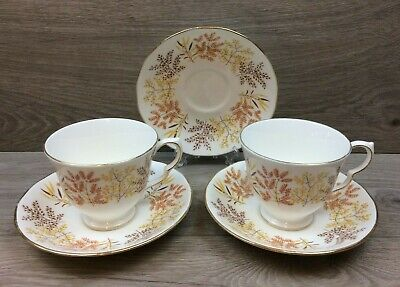 2 x Vintage ROYAL VALE Brown & Yellow Leaves Bone China Cups & Saucers