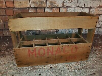 Old Vintage Industrial Monaco France Grand Prix Beer Wine Wooden Bottle Crate