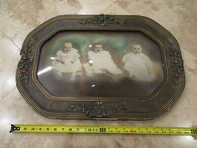 Rare Antique 24 1/2 Celluloid Hand Painted Frame-3 Babies-Portrait-Very Nice