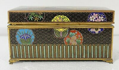 Antique Japanese cloisonne box - gold gilt inner box