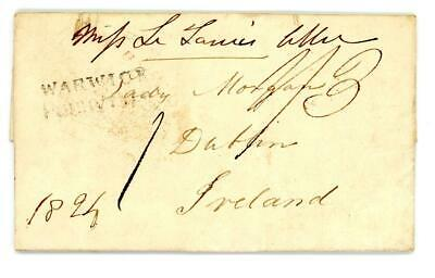 1824 GB Warwickshire entire letter to Dublin with Warwick Penny Post (WA410)