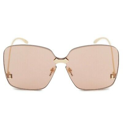 522ae989783 Gucci Oversized Rimless Sunglasses GG0352S 002 99 Pale Gold Frames Brown  Lenses