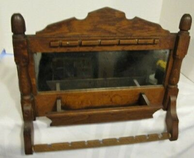 Antique Oak Wood Parlor Shaving Mirror Wall Hanging W/ Comb Tray & Towel Bar