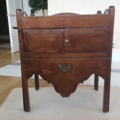 Georgian Tray Top Commode in Mahogany with Original Brass Castors