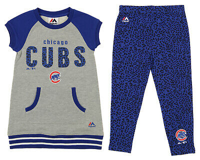 Majestic MLB Little Girls Chicago Cubs Cheer Loud Shirt & Leggings Set