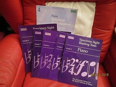 6 BOOKS PIANO SPECIMEN SIGHT READING TESTS GRADE 4 5 6 7 8 (&  grade 4 from 2009