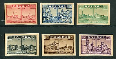 Poland, Scott 374-79 379, Warsaw Views, Issued Imperf Set 1945 1946, NH