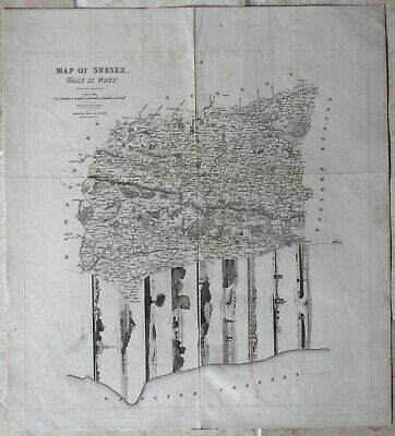 Rare map of West Sussex published by J Baxter 1834 with nine charming vignettes