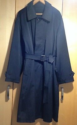Canali Men's Black Trench Coat with Belt & Removeable Lining Size 50