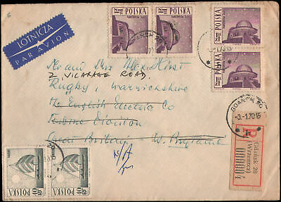 Registered cover from Gadansk Poland to Great Britain, 1970