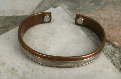 Inner Silver Tone Signed Sergio Lub Solid Copper Magnetic Cuff Bracelet 28.9 gs