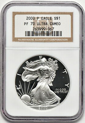 2000 P 1oz Proof American Silver Eagle NGC PF 70 Ultra Cameo Faint Spots