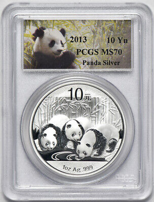 2013 1oz Silver Chinese Panda, China PRC 10 Yuan, PCGS MS70 tiny flecks