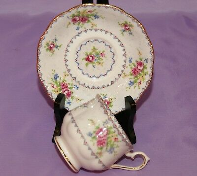 Royal Albert PETIT POINT Chintz English Bone China Teacup & Saucer Duo