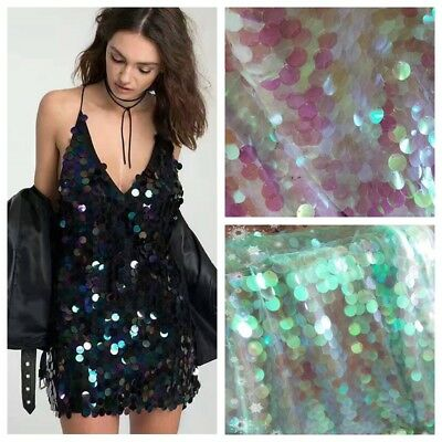 Laser Sequin Fabric Bling Shiny Mermaid Scale Wedding DIY Backdrop Glitter Cloth