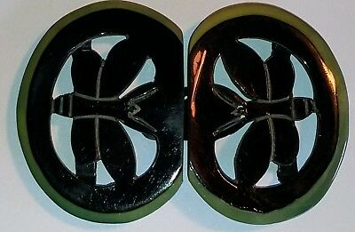 vintage art deco French carved celluloid butterfly belt buckle