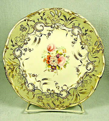Antique English Hand Painted Plate with Cut Outs & Golden Wheat on Gray Border