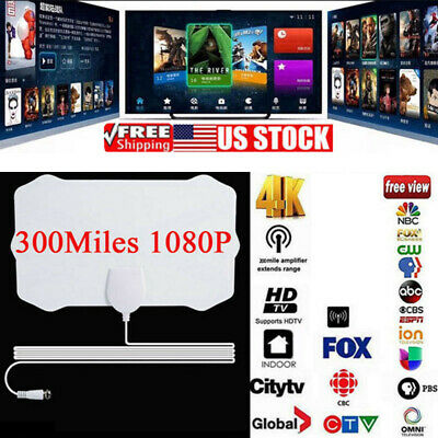 [300 Miles] Clear Indoor Digital TV HDTV Antenna [2019 Latest] UHF/VHF/1080p 4K