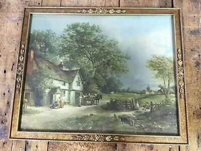 VTG Antique Gold Wooden Picture Frame Beautiful village country horse cart kids