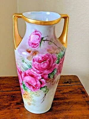 Antique Hand Painted German Flower Blossom Two Handle Vase