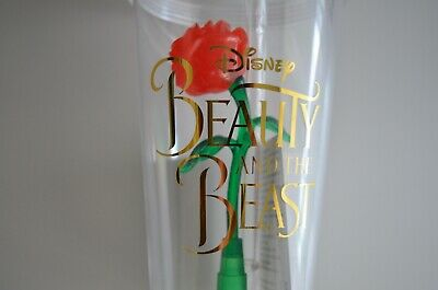 Disney Parks Beauty and The Beast Rose Light Up Souvenir Cup Tumbler