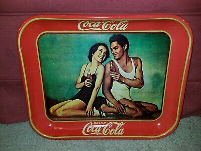 1934 COCA~COLA TRAY SIGN Maureen O'Sullivan Johnny Weissmuller Reproduction NM