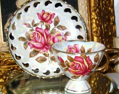 ROYAL SEALY Pink Rose Lusterware Footed Tea Cup & Pierced Saucer Gold Teacup