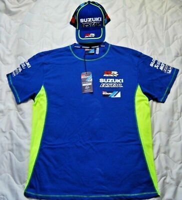 Suzuki SET BUNDLE Blue T shirt and Baseball CAP GSXR racing motorcycleSALE NEW L