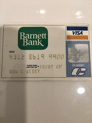 Vintage 80s Visa Charge Credit Card Barnett Bank Bank
