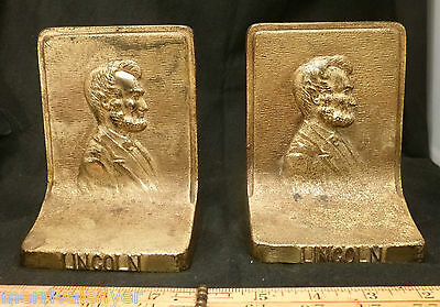 Antique Abraham Lincoln Bust BRADLEY & HUBBARD Cast IRON Sculpture BOOKENDS B&H