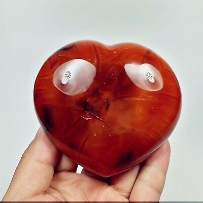 379g RED Polished CARNELIAN HEART Palm Stone Healing Reiki Madagascar A1712