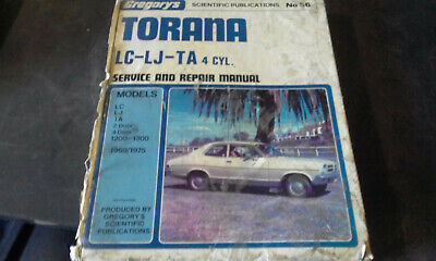 Holden LC LJ TA Torana 4cyl Gregorys Workshop Manual #56 service repair