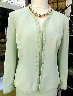 Beautiful FRANK USHER 3 Piece Pale Pastel Lime Special Occasion Skirt Suit sz 18