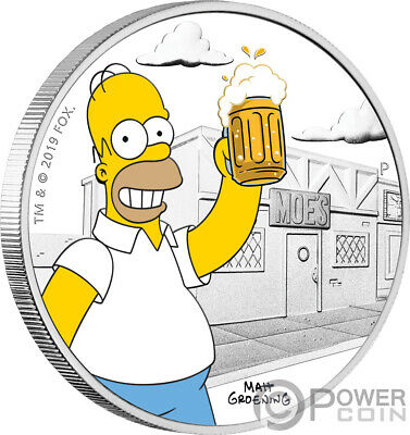 HOMER Simpsons 1 Oz Silver Coin 1$ Tuvalu 2019