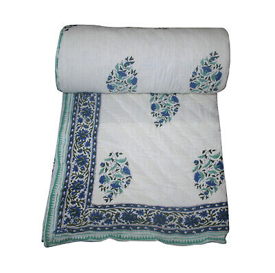 Indian Kantha Throw Paisley Print Kantha Quilt Reversible Bedspread Cotton Quilt