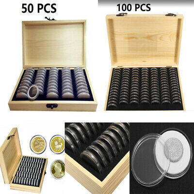New Box Case for Collectible Coin 50/100 Capsules Wooden Coins Display Storage