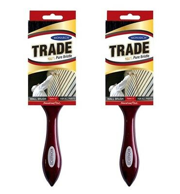 """Monarch Trade Paint Brush 100% Pure Bristle Wall Brush 75mm 3"""" For All Paints X2"""