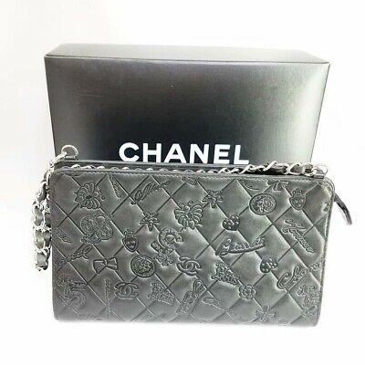 Auth CHANEL Icon line symbol charm A37156 chain shoulder bag