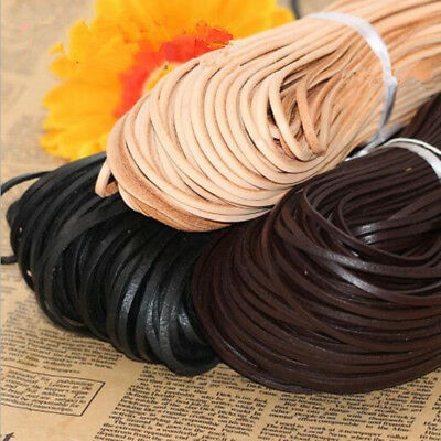 10 Yard Flat Genuine Leather Rope Cord For Bracelet Necklace Strap DIY Materials