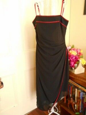 Retro Black Dress With Red Trims By Hiltons