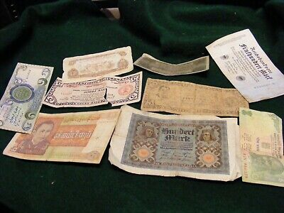Lot of 9 diff.World Banknotes,USED notes,Germany 1920s,WWII Philippines,others.