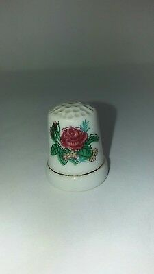 Vintage Old China Thimble Red Rose  Sewing Collectable