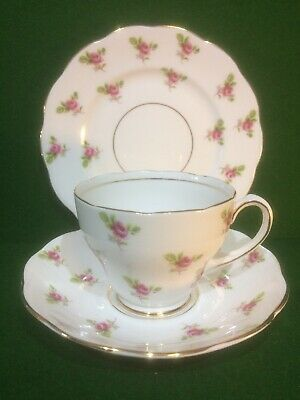 "Roslyn Bone China "" Dot Rose "" Tea Cup, Saucer & Plate Trio"