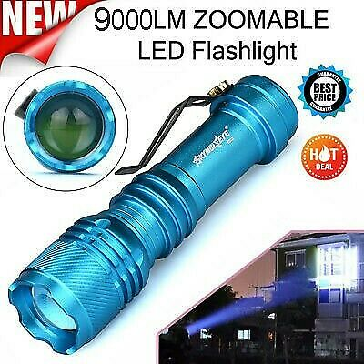 9000LMS CREE Q5 LED Torch AA/14500 3 Modes Zoomable Mini Flashlight Bright