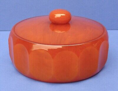 Gorgeous Vintage Butterscotch Phenolic Bakelite Powder Bowl Trinket Box 1930s