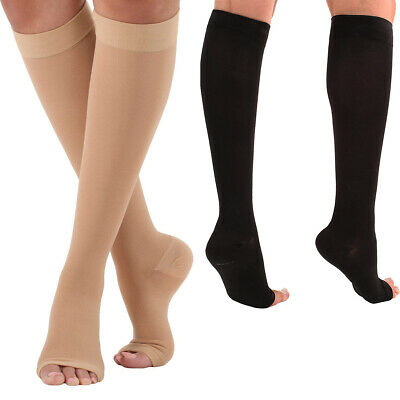 Compression Socks Knee High Support Stockings Open Toe 18-21mmHg Soft Unisex